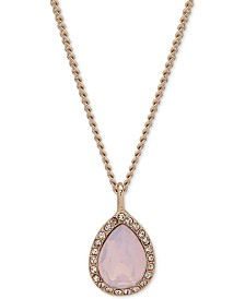 "Givenchy Pavé Pear-Shape Pendant Necklace, 16"" + 3"" extender"