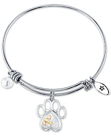 Unwritten Crystal Paw & Bone Charm Bangle Bracelet in Stainless Steel & Gold-Tone and Rose Gold-Tone