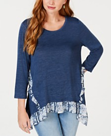 Style & Co Contrasting-Ruffle Top; Created for Macy's