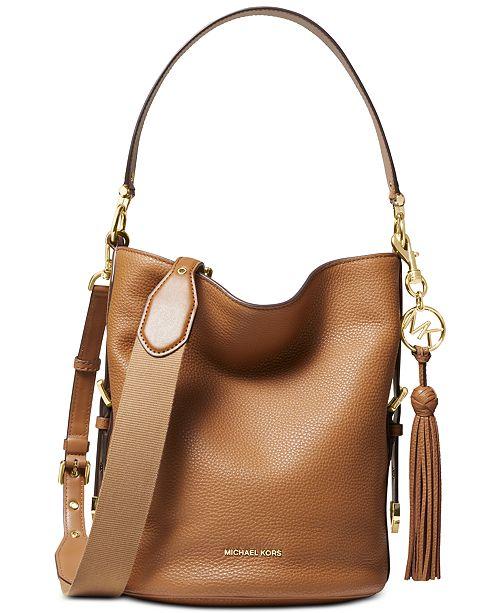 6ffe12de3d31 Michael Kors Brooke Pebble Leather Bucket Shoulder Bag & Reviews ...