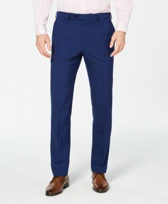 Men's Slim-Fit Stretch Wrinkle-Resistant Blue Check Suit Pants