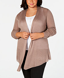 Belle by Belldini Plus Size Pointed-Hem Open-Front Cardigan