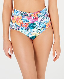 SUNDAZED Spring Fling High-Waist Bikini Bottoms, Created for Macy's