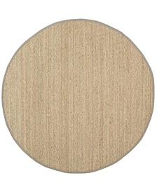 Natural Fiber Natural and Gray 8' x 8' Sisal Weave Round Area Rug