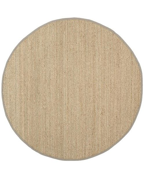 Safavieh Natural Fiber Natural and Gray 8' x 8' Sisal Weave Round Area Rug
