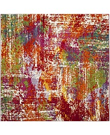 "Watercolor Orange and Green 6'7"" x 6'7"" Square Area Rug"