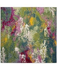"""Safavieh Watercolor Green and Fuchsia 6'7"""" x 6'7"""" Square Area Rug"""