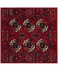 "Vintage Hamadan Red and Multi 6'7"" x 6'7"" Square Area Rug"