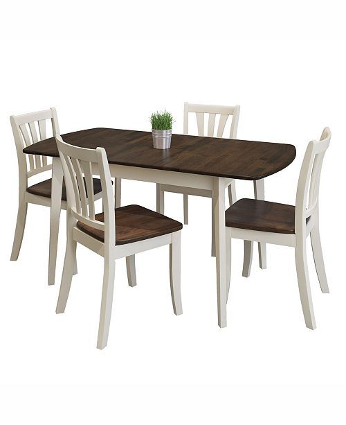 CorLiving 5pc Extendable Solid Wood Dining Set