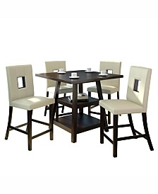 CorLiving 5pc Counter Height Dining Set, with White Leatherette Chairs