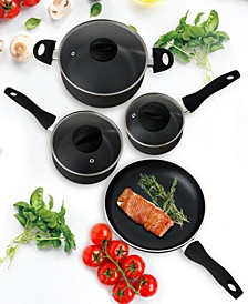 Textured Exterior - 7 Piece Nontick Cookware Set - 1QT, 2QT, 5QT and 9.5""