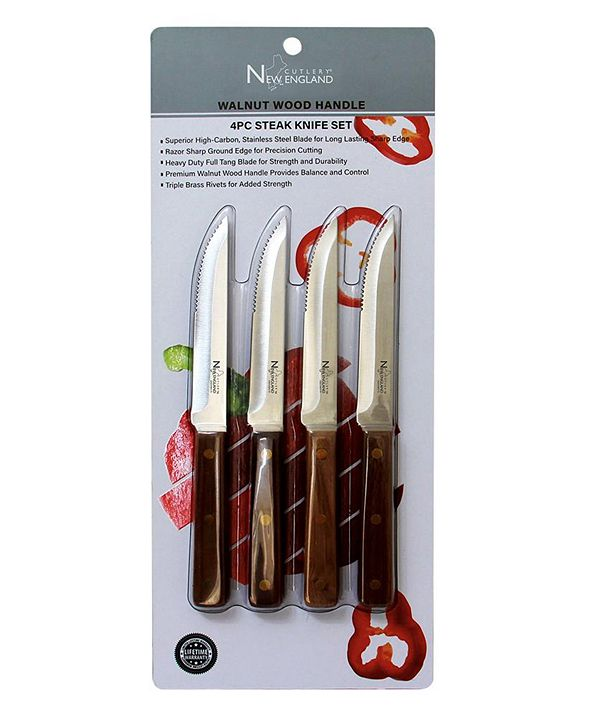 New England Cutlery 4 Piece Steak Knife Set with Full Tang Blade and Walnut Wood Handle