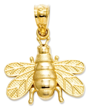 14k Charm, Polished and Satin Bee Charm