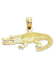 14k Gold Charm, Textured Alligator Charm