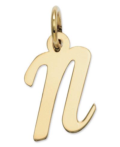 14k Gold Charm, Small Script Initial N Charm