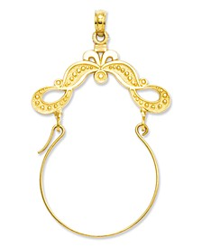 14k Gold Charm Holder, Polished Ribbon Decorated Charm Holder