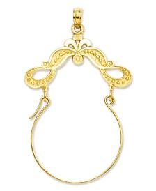 14k Gold Charm Holder, Polished Ribbon Decorated Charm Holder