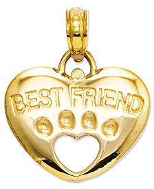 14k Gold Charm, Best Friend Paw Heart Charm