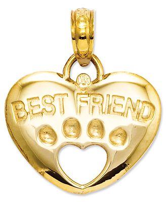 14k Gold Charm, Best Friend Paw Heart Charm