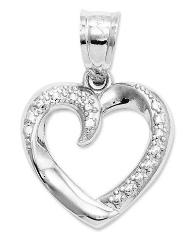 14k White Gold Charm, Swirled Heart Charm