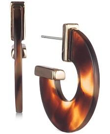 """Lauren Ralph Lauren Gold-Tone Tortoise-Look Small Flat 1"""" Hoop Earrings"""