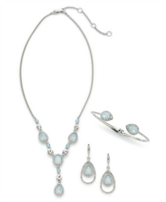 Crystal & Stone Lariat Necklace, 16