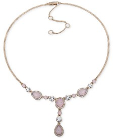 "Givenchy Crystal & Stone Lariat Necklace, 16"" + 3"" extender"