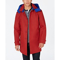 Tommy Hilfiger Wolf Modern-Fit Men's Raincoat with Removable Hood (Red/Blue or Navy)
