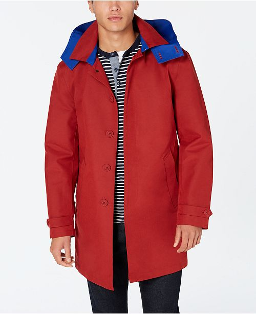 Tommy Hilfiger Men's Wolf Modern-Fit Raincoat with Removable Hood