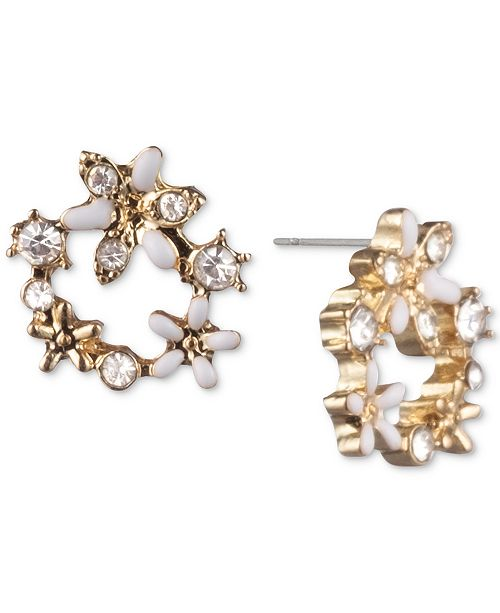 lonna & lilly Crystal Flower Open Stud Extra Small Earrings