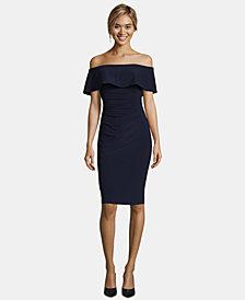 X by Xscape Off-The-Shoulder Sheath Petite Dress