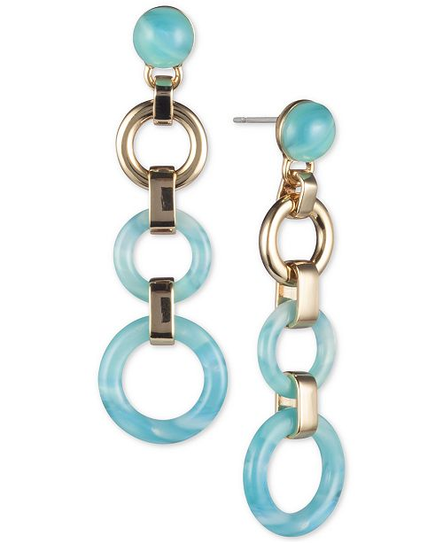 DKNY Gold-Tone & Stone Linked Circle Linear Drop Earrings, Created for Macy's