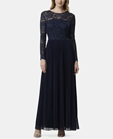 Tahari ASL Pleated Glitter-Lace Gown