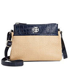 Giani Bernini Double Zip Straw Crocodile Crossbody, Created for Macy's