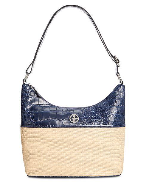 Giani Bernini Straw Crocodile Hobo Bag, Created by Macy's
