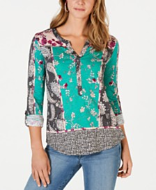 Style & Co Multi-Print Henley Top, Created for Macy's