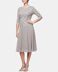 Alex Evenings Petite Cowl-Back Tea-Length Dress