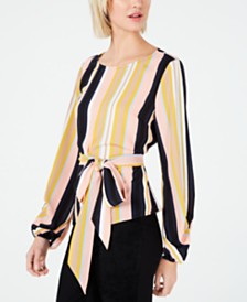 Bar III Striped Tie-Waist Top, Created for Macy's