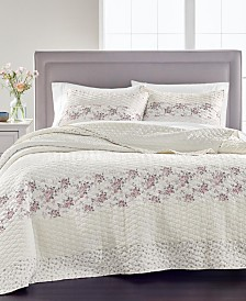 Martha Stewart Collection Textured Floral Stripe Quilt and Sham Collection, Created for Macy's