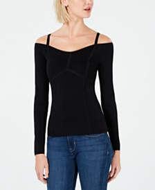 Bar III Seam-Detail Off-The-Shoulder Sweater, Created for Macy's