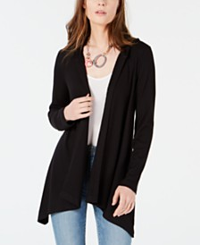 Bar III Ribbed Hooded Open Cardigan, Created for Macy's