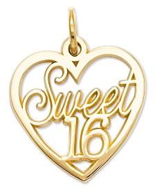 14k Gold Charm, Sweet 16 Heart Charm