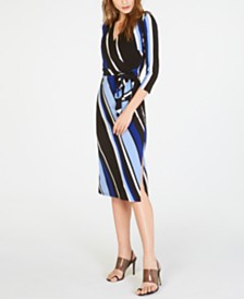 I.N.C. Printed Faux-Wrap Dress, Created for Macy's