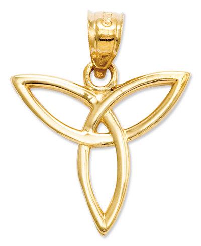 14k Gold Charm, Angel Trinity Symbol Charm