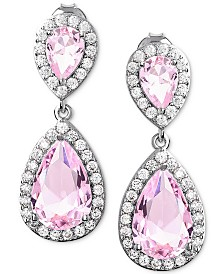 Giani Bernini Cubic Zirconia Teardrop Drop Earrings in Sterling Silver, Created for Macy's