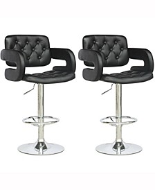 Adjustable Tufted Leatherette Barstool with Armrests, Set of 2