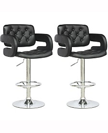Corliving Adjustable Tufted Leatherette Barstool with Armrests, Set of 2