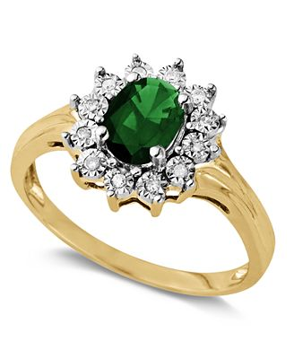 10k Gold Ring Emerald 7 8 ct t w and White Diamond Accent