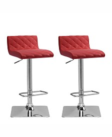 Corliving Adjustable Diamond Tufted Barstool in Bonded Leather, Set of 2