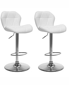 Corliving Adjustable Hex Design Barstool in Bonded Leather, Set of 2